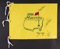 "2016 Masters Tournament 13"" x 17.5"" Golf Pin Flag Signed by (4) with Gary Player, Mark O'Meara, Fred Couples & Bernhard Langer (JSA COA)"