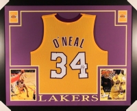 """Shaquille O'Neal Signed Lakers 35"""" x 43"""" Custom Framed Jersey (JSA)"""