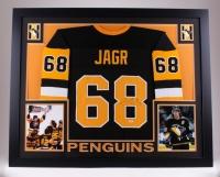 "Jaromir Jagr Signed Penguins 35"" x 43"" Custom Framed Jersey (PSA COA)"