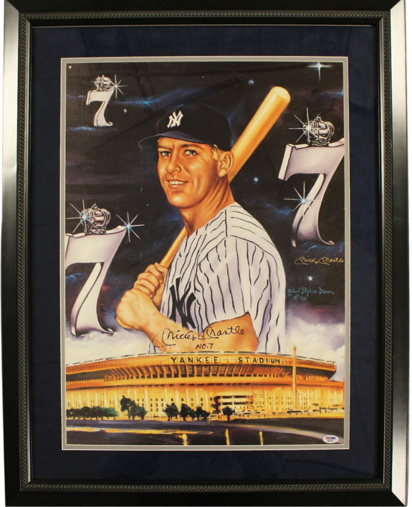 Mickey Mantle Signed Yankees 26x32 Custom Framed Artwork Display (PSA) at PristineAuction.com