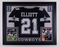 "Ezekiel Elliott Signed Cowboys 35"" x 43"" Custom Framed Jersey (JSA) at PristineAuction.com"