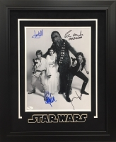 "1977 Star Wars 19.5"" x 23.5"" Custom Framed Photo Display Signed by (4) with Carrie Fisher, Harrison Ford, Mark Hamill & Peter Mayhew (JSA LOA)"