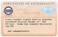 "Steve Largent Signed LE Seahawks Full-Size Authentic Pro-Line Helmet Inscribed ""HOF '95"" (Steiner COA) at PristineAuction.com"