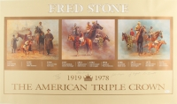 """The American Triple Crown"" 35.75"" x 21"" Lithograph Signed by (5) with Ron Turcotte, Jean Cruguet, Johnny Longden, Eddie Arcaro (JSA LOA)"
