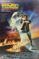 """Christopher Lloyd & Michael J. Fox Signed """"Back To The Future"""" 27x40 Movie Poster (PSA LOA)"""