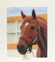 "Ron Turcotte Signed Secretariat 22"" x 24.25"" Giclee on Canvas Inscribed ""Secretariat the Horse That God Built"" (JSA)"
