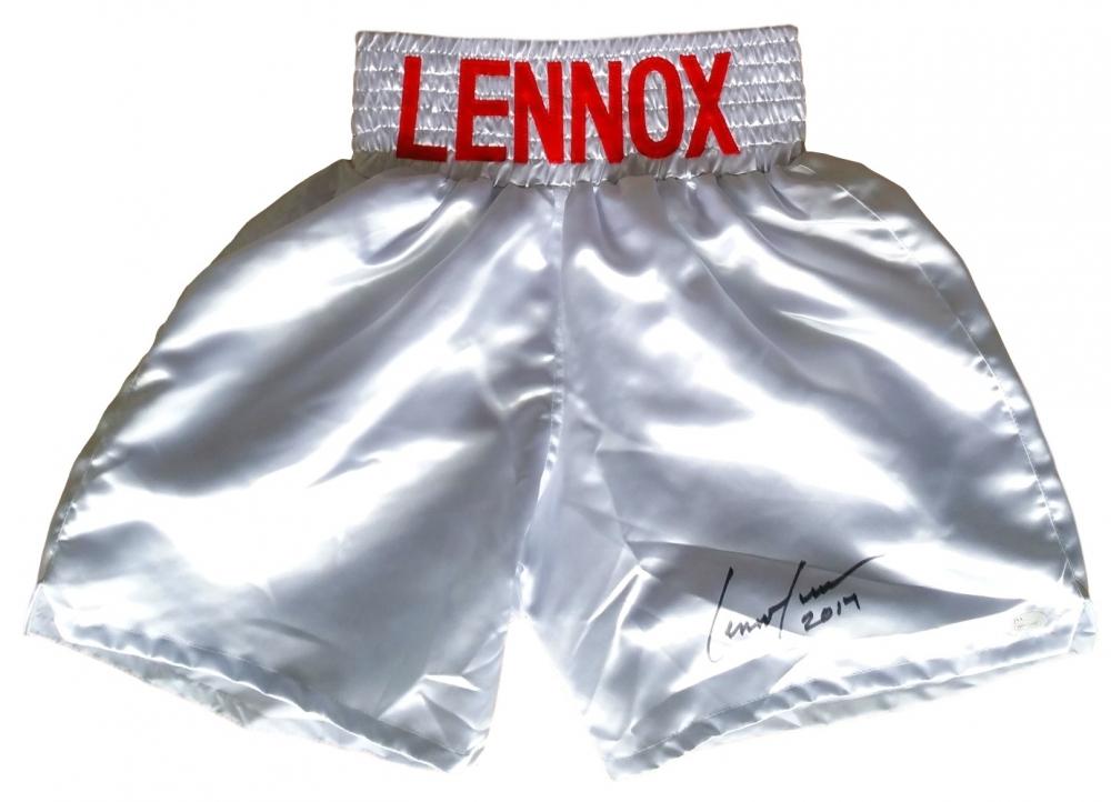 lennox lewis memorabilia. lennox lewis signed boxing trunks inscribed \ memorabilia
