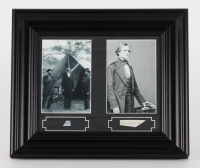 """Abraham Lincoln & Jefferson Davis 12"""" x 13"""" Custom Framed Display with (2) Hand-Written Word from Document (PSA LOA Copy)"""