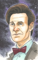 """Tom Hodges - The 11th Doctor """"Doctor Who"""" Signed ORIGINAL 5.5"""" x 8.5"""" Color Drawing on Paper (1/1)"""