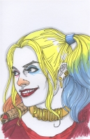 "Tom Hodges - Harley Quinn ""Suicide Squad"" Signed ORIGINAL 5.5"" x 8.5"" Color Drawing on Paper (1/1)"