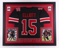 "Ezekiel Elliott Signed Ohio State Buckeyes 35"" x 43"" Custom Framed Jersey (JSA COA) (Imperfect)"
