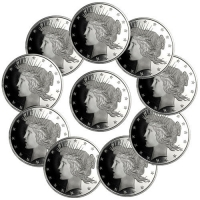 Lot of (10) Peace Silver Dollar Design 1 oz. .999 Fine Silver Rounds from Highland Mint (Brilliant Uncirculated) at PristineAuction.com