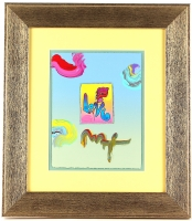 "Peter Max ""Love"" Signed 8.5"" x 11"" Original Acrylic Mixed Media Painting 1/1 (Custom Framed to 17.5"" x 20.5"")"