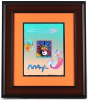 "Peter Max ""Liberty Head"" Signed 8.5"" x 11"" Original Acrylic Mixed Media Painting 1/1 (Custom Framed to 18.25"" x 21"")"