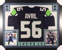 """Cliff Avril Signed Seahawks 35"""" x 43"""" Custom Framed Jersey (JSA COA)"""