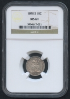 1890-S 10 Cents Seated Liberty Dime (NGC MS 61)