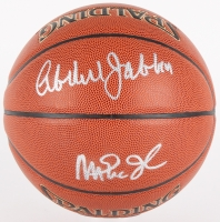 Kareem Abdul-Jabbar & Magic Johnson Signed NBA Basketball (JSA COA & Schwartz COA)