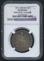 1874 Arrows Seated Liberty Half Dollar (NGC AU Details)