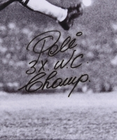 "Pele Signed Brazil 29"" x 24"" Bicycle Kick Photo on Canvas Inscribed ""3x W.C. Champ"" (PSA COA) at PristineAuction.com"
