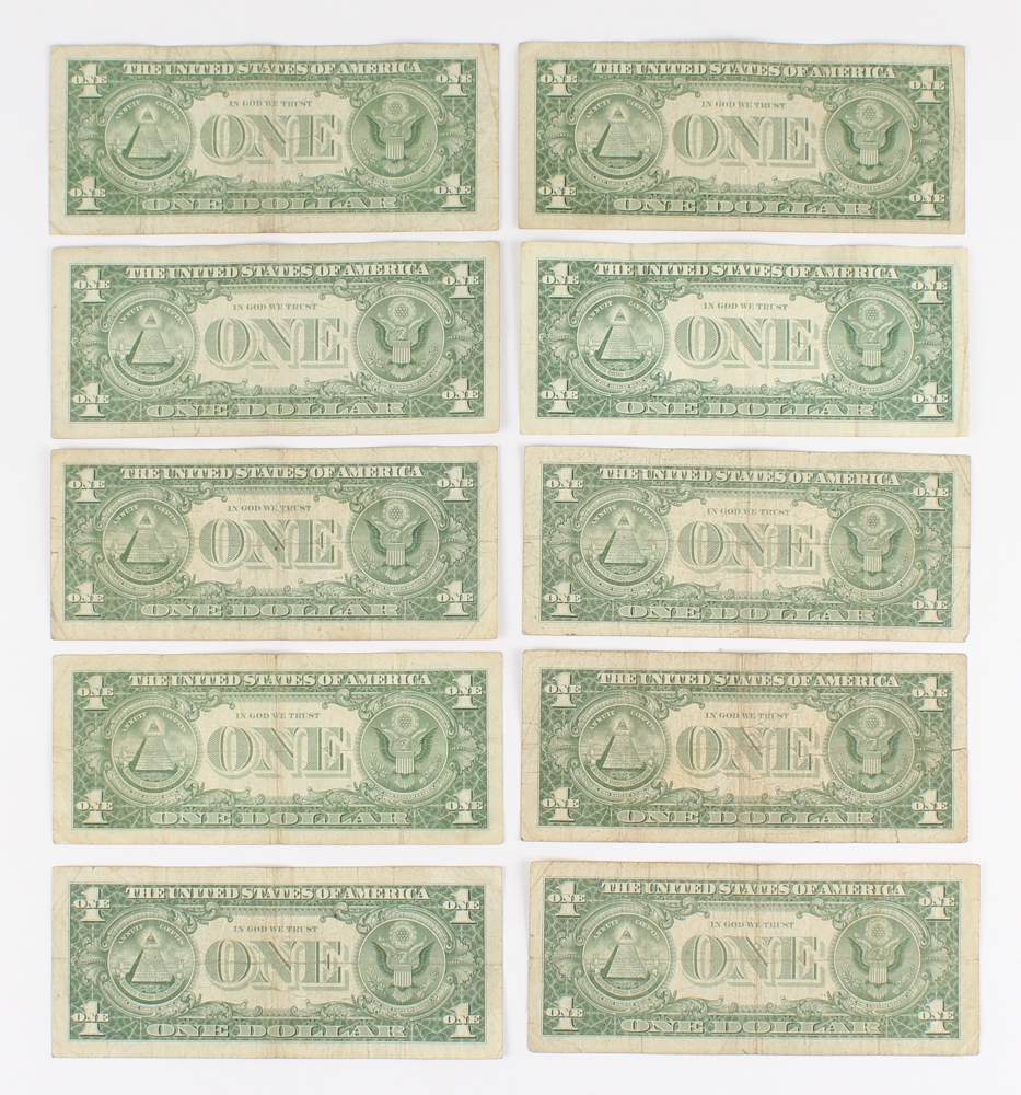 Online sports memorabilia auction pristine auction lot of 10 1957 1 one dollar blue seal silver certificates at pristineauction xflitez Images