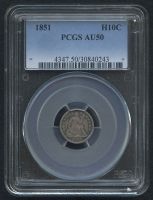 1851 $.10 Seated Liberty Dime (PCGS AU 50)
