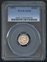 1872 $.10 Seated Liberty Dime (PCGS AU 53)