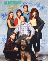 """""""Married With Children"""" 16x20 Photo Signed By (6) With Katey Sagal, Christina Applegate, Ed O'Neill, David Faustino, Amanda Bearse & Ted McGinley (PSA LOA)"""