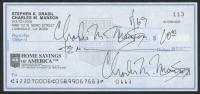 Charles Manson Twice-Signed Personal Bank Check (JSA LOA)
