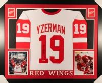 "Steve Yzerman Signed Red Wings 35"" x 43"" Custom Framed Jersey (PSA COA)"