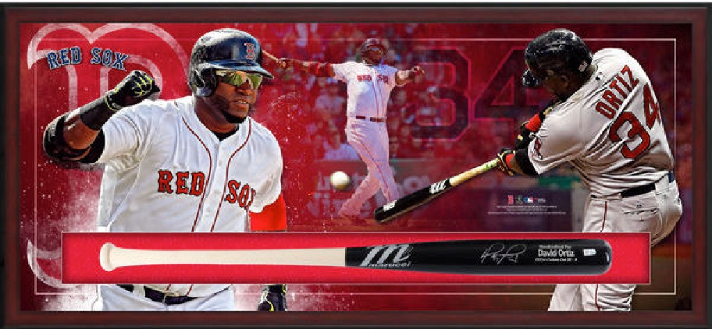 "David Ortiz Signed Red Sox 49.5"" x 23.5"" x 3.25"" Custom Framed Marucci Game Model Baseball Bat Shadowbox Display (Fanatics) at PristineAuction.com"