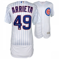 """Jake Arrieta Signed Cubs Authentic Majestic 2016 World Series Jersey Inscribed """"2016 WS Champs"""" (Fanatics & MLB)"""