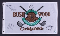 "Chevy Chase, Michael O'Keefe & Cindy Morgan Signed Bushwood Country Club ""Caddyshack"" 12"" x 20"" Golf Flag Inscribed ""Lacey"" & ""Noonan"" (PSA LOA)"