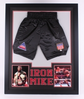 "Mike Tyson Signed 35""x 43"" Custom Framed Boxing Shorts (JSA COA)"