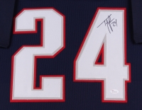"""Ty Law Signed Patriots 35""""x 43"""" Custom Framed Jersey (JSA COA) at PristineAuction.com"""