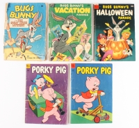 Lot of (5) Vintage Dell Comic Books with (3) Bugs Bunny 1953 #3, 1954 #2, 1950 #281 (2) Porky Pig 1953 #30, 1954 #36