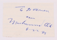 "Muhammad Ali Signed 2"" x 2.5"" Cut Inscribed ""8-22-89"" (JSA LOA)"