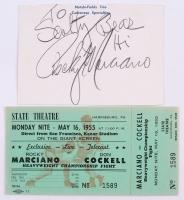 """Rocky Marciano Signed 3.5"""" x 5"""" Cut (PSA LOA)"""
