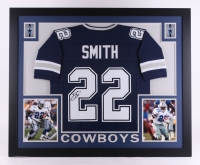 "Emmitt Smith Signed Cowboys 35"" x 43"" Custom Framed Jersey (JSA COA)"