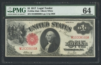 1917 $1 One Dollar Mule Legal Tender Large Size Bank Note Bill (PMG 64)