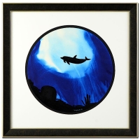 "Wyland ""Dolphin (Blue)"" Signed Original Watercolor on 19"" Round Deckle-Edge Paper (Custom Framed to 31"" x 31"")"