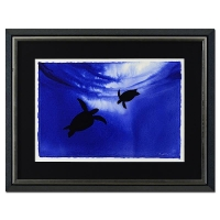 "Wyland ""2 Turtles"" Signed Original 23"" x 15"" Watercolor on Deckle-Edge Paper (Custom Framed to 34"" x 26"")"