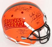 Catherine Bach, Tom Wopat & John Schneider Signed Dukes of Hazzard Custom Matte Orange Full-Size Helmet with (6) Inscriptions (JSA COA)