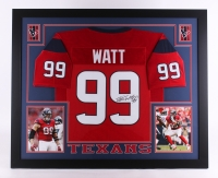 "J.J. Watt Signed Texans 35"" x 43"" Custom Framed Jersey (JSA COA) at PristineAuction.com"