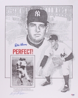 """Don Larsen Signed Yankees 16x20 """"1956 World Series Perfect Game"""" Lithograph (PSA COA)"""