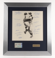 "1956 New York Yankees Team Signed 22"" x 24.5"" Custom Framed Lithograph Display With (17) Signatures Including Don Larson, Yogi Berra, Whitey Ford, Phil Rizzuto, Enos Slaughter with 1956 World Series Ticket (PSA LOA)"