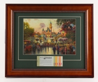 "Thomas Kinkade 50th Anniversary ""Disneyland"" 15"" x 18"" Custom Framed Lithograph Display with Full Vintage Ticket Book"