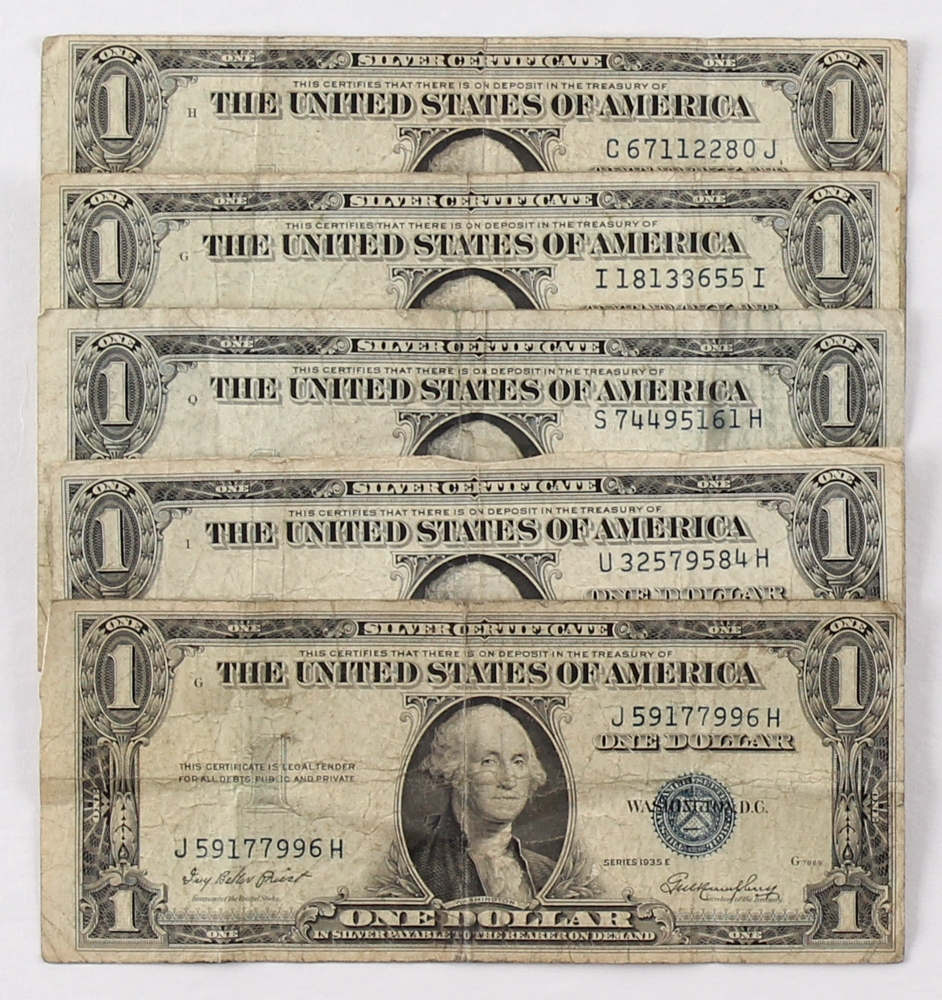 Online sports memorabilia auction pristine auction lot of 5 1935 1 one dollar blue seal silver certificates at pristineauction 1betcityfo Images