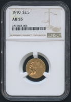 1910 $2.50 Indian Head Quarter Eagle Gold Coin (NGC AU 55)