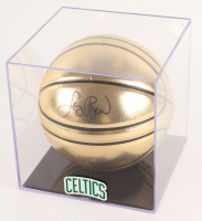 Larry Bird Signed Molten Official Gold Basketball with Display Case (PSA COA)