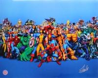 """Stan Lee Signed """"Marvel Super Heros"""" 16x20 Photo (Lee Hologram)"""
